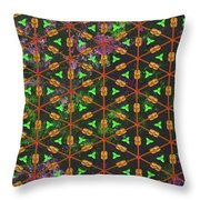 Decadent Urban Orange Green Patterned Abstract Design Throw Pillow