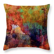 Decadent Urban Red Wall Grunge Abstract Throw Pillow