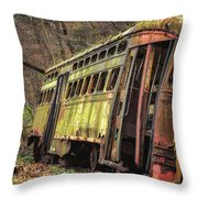 Decaying Trolley Cars Throw Pillow