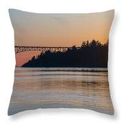 Deception Pass Bridge Sunset Sunstar Throw Pillow