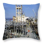 Deck Of A Fuel Ship Throw Pillow