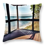 Deck With Ocean View Throw Pillow