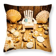 Deckchairs And Seashells Throw Pillow