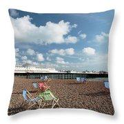 Deckchairs On Brighton Beach Throw Pillow