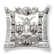 Declaration Of Independence 1884 Poster Restored Throw Pillow
