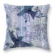 Deco Hummingbird Blue Throw Pillow