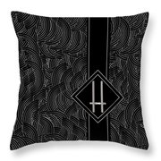 Deco Jazz Swing Monogram ...letter H Throw Pillow