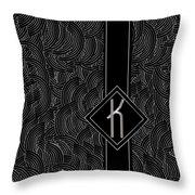 Deco Jazz Swing Monogram ...letter K Throw Pillow