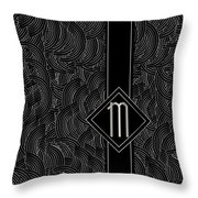 Deco Jazz Swing Monogram ...letter M Throw Pillow