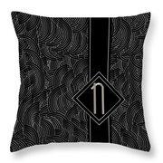 Deco Jazz Swing Monogram ...letter N Throw Pillow
