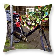 Decorated Bicycle. Amsterdam. Netherlands. Europe Throw Pillow