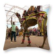 Decorated Camel Pushkar Throw Pillow