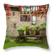 Half-timbered House, Riquewihr, Alsace,france  Throw Pillow