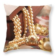 Decorated Carved Box In Aluminum And Pearl Necklace Throw Pillow