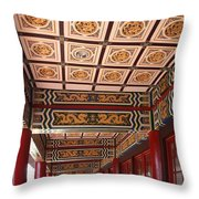 Decorated Columned Hall Of A Chinese Temple Throw Pillow
