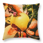 Decorated Organic Vegetables Throw Pillow