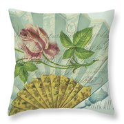 Decorated Valentine Fan Throw Pillow