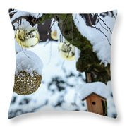 Decorations In The Snow Throw Pillow