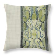 Decorative Design In Green And Blue, Carel Adolph Lion Cachet, 1874 - 1945 Throw Pillow