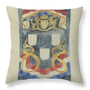 Decorative Design With The National Coat Of Arms, Flags And Banners, Carel Adolph Lion Cachet, 1874  Throw Pillow