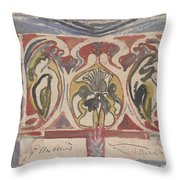 Decorative Design With Two Signatures, Carel Adolph Lion Cachet, 1874 - 1945 Throw Pillow