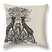 Decorative Design With Two Standing Deer, Carel Adolph Lion Cachet, 1874 - 1945 Throw Pillow