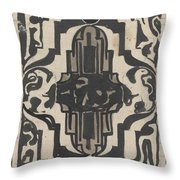 Decorative Design With Two Stylized Lions, Carel Adolph Lion Cachet, 1874 - 1945 Throw Pillow