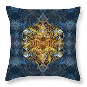 Decorative Gemstone Sacred Geometry Flower Of Life   Throw Pillow