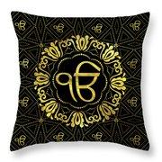 Decorative Gold Ek Onkar / Ik Onkar  Symbol Throw Pillow