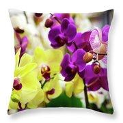Decorative Orchids Still Life C82418 Throw Pillow by Mas Art Studio