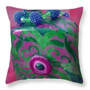 Decorative Pink Bottle Throw Pillow