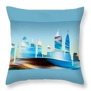 Decorative Skyline Abstract New York P1015b Throw Pillow