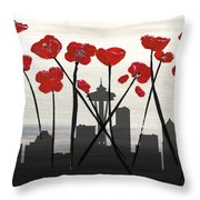 Decorative Skyline Abstract  Seattle T1115x1 Throw Pillow by Mas Art Studio