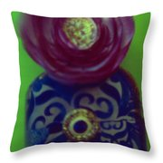 Decoupaged Vase With Fabric Flower Throw Pillow