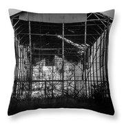 Decrepid Barn Black And White Throw Pillow