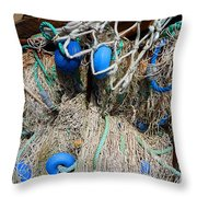 Deep Blue Discs Throw Pillow