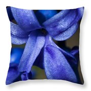 Deep Blue Flower Throw Pillow