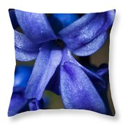 Deep Blue Flower Throw Pillow
