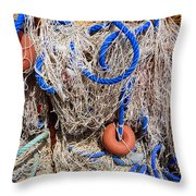 Deep Blue Net Throw Pillow