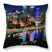Deep Blue Night In Pittsburgh Throw Pillow