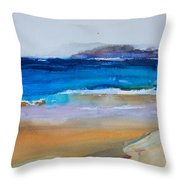 Deep Blue Sea And Golden Sand Throw Pillow