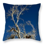 Deep Blue White Tree Throw Pillow