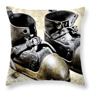Deep Diver Boots Hdr And Vintage Process Throw Pillow