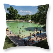 Deep Eddy Pool Is A Family Friendly, Family Fun, Public Swimming Pool In Austin, Texas Throw Pillow