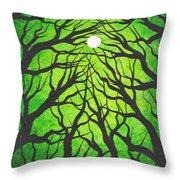 Deep Green Forest Throw Pillow