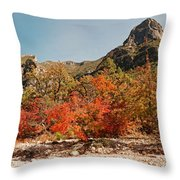 Deep In Mckittrick Canyon - Lost Maples And Ponderosa Pines Against Backdrop Of Guadalupe Mountains  Throw Pillow