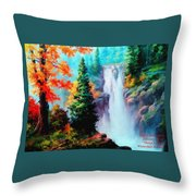 Deep Jungle Waterfall Scene. L A  Throw Pillow