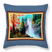 Deep Jungle Waterfall Scene L A With Alt. Decorative Ornate Printed Frame. Throw Pillow