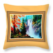 Deep Jungle Waterfall Scene L B With Alt. Decorative Ornate Printed Frame. Throw Pillow