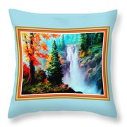 Deep Jungle Waterfall Scene L B With Decorative  Ornate Printed Frame. Throw Pillow
